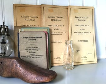 Vintage Lehigh Valley Railroad Time Tables, Schedule of Pay, and Edison Battery Oil Bottle,