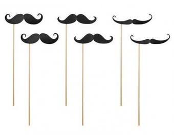 Set of 6 mustache Photobooth on sheer black