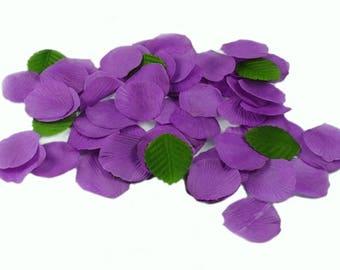 Lot de 100 Pétales Coloris Prune en Tissu