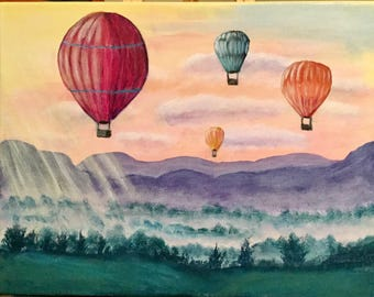 Hot Air Balloon Painting, Landscape Painting, Wall Art, Fine Art, Home Decor, Gift