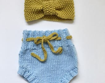 Baby headband and bloomers gift set - knitted baby headband - retro bloomers - kids hair accessories - newborn present - baby shower gift