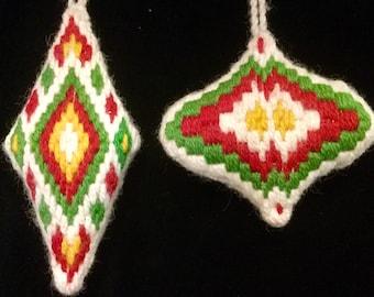 Vintage Bargello Ornaments 2pc Bargello Christmas Ornament Christmas Tree Ornament Stuffed Needlepoint Ornament Handcrafted