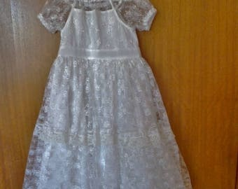 White lace dress, Upcycled girls dress, Special occasion dress, size 6 months, 12 months