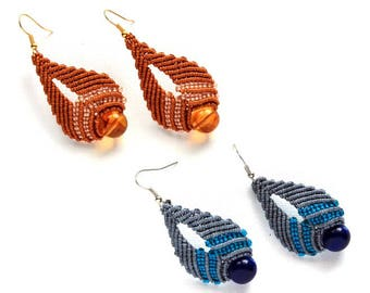 Raindrop Macrame Earrings with Bead