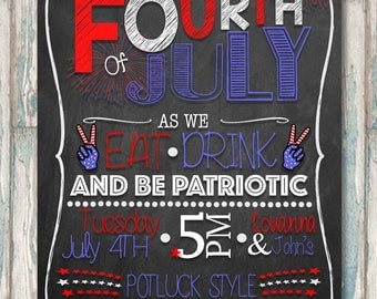 4th of July Party Invite - Independence Day Potluck - Fireworks - Digital Invite - Fourth of July Party Printable