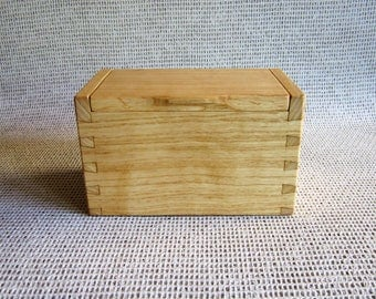 Handcrafted Wood Box. Solid Ash Box with Hinged Lid Hand Cut Dovetail Construction for your Keepsakes