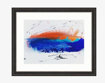 Abstract painting - acryl and black ink - without a frame
