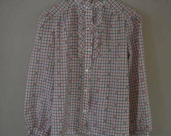 PINS AND NEEDLES Top   women's size 8   circa 1970's   blouse   button up shirt