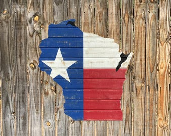 Wisconsin-Texas  Cedar Flag Sign - Any Flag On Any State Or Country Outline