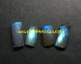 4 Pcs - Natural Labradorite One Side Checker Cut Fancy Cabochon - 10.5-13 MM- Labradorite Cabochons - High Quality - Wholesalegems
