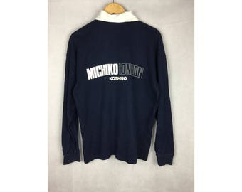 MICHIKO KOSHINO LONDON Polo Long Sleeve Polo With Big Spell Out Logo Large Size Polo