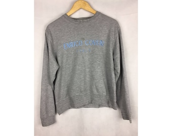ENRICO COVERI Italy Nice Design Sweatshirt / Pull Over with Big Embroidered Spell Out Logo Small Size