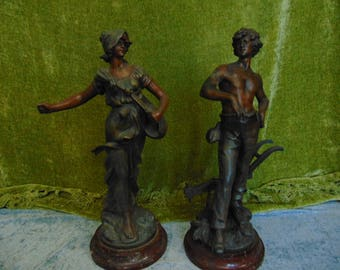 Antique french spelter farmer couple