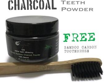 Herbal Teeth Whitening Active Bamboo Charcoal Powder. 100% Natural and Herbal Teeth Whitening.PLUS Free Bamboo Toothbrush.
