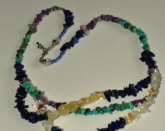 Multi strand and multi colored necklace