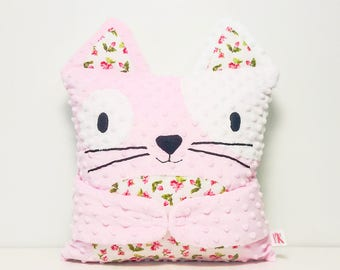 Cat pillow, kitten pillow, minky cushion, Hug-Me pillow, pink, white