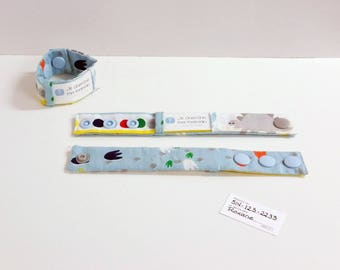 Kid identification bracelet, fabric bracelet, fabric cuff, dinosaur