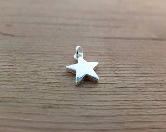 Silver Star Charm - 1 or 5 pieces, Silver Plated Charm, Bracelet Charm, Findings, Jewellery Making, Crafting Supplies - UK seller