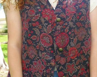 Vintage 1980s Appleseed Multi-Color Tapestry Inspired Sleeveless Vest