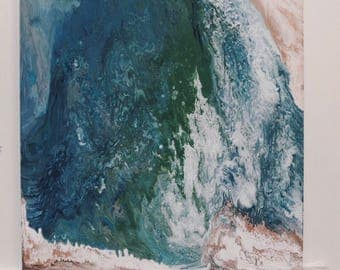 Uluwatu, Fluid Acrylic Ocean Seascape Abstract Painting