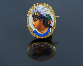 Antique Gold Enamel Painted Portrait of a Native American Indian Girl