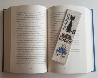 Cats, Books, and Coffee Lover Bookmark