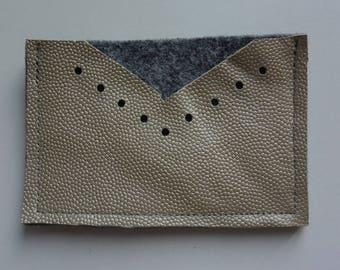 Gold leather card holder & felt