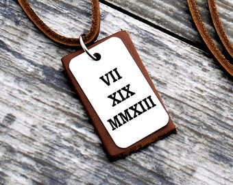Roman Numeral Necklace, Custom Date Necklace, Personalized Leather Necklace, Special Date, Anniversary Gift, Men Necklace, Personalized Gift