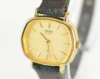 Womens Vintage Watch// Small Gold Dress Seiko Quartz Watch with Dark Brown Band