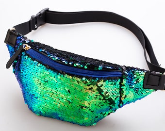 Green Blue Peacock Iridescent Mermaid Two Tone Sequin Bumbag Fanny pack Festival Concert Clothing