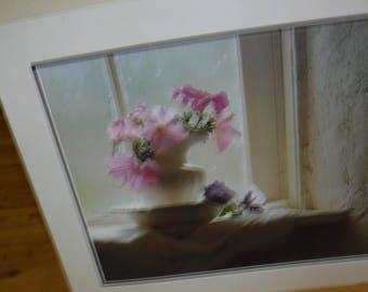 Photo print, flowers, vase, Grandma's Embroidery, Petunias, no frame