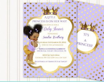 Little Royal Princess Lavender & Gold Sneakers | African American Vintage Baby w/ Afro Puffs Hair | Editable Instant Download