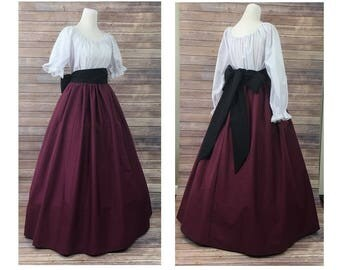 Size S Small - Complete Outfit - Skirt, Blouse and Sash - Renaissance Civil War Victorian Southern Belle LARP Medieval Pioneer Dress Costume