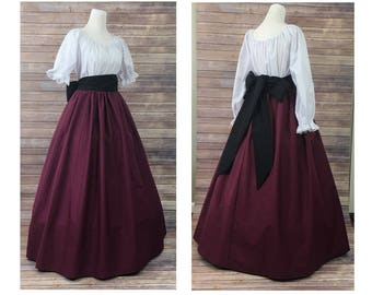 Size L Large-Complete Outfit-Skirt, Blouse and Sash-Renaissance Civil War Victorian Southern Belle LARP Medieval Pioneer Dress Costume