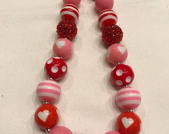 Girls chunky bubblegum bead necklace valentines red pink