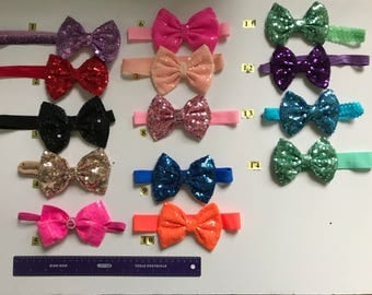 Bow head bands for baby's and girls (made with material sequin fabric)