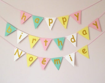 Personalised happy birthday bunting, pastel birthday party decor, gold, mint, pink, yellow