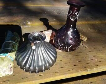 Hand embellished vintage glass bottles ~ set of 2