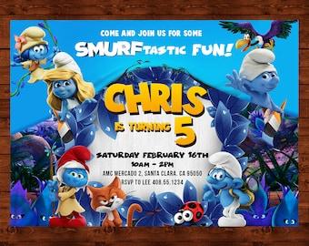 The Smurfs Birthday Invitation, Smurfs Party Invite, The Smurfs Printable Card, Smurfs The Lost Village, Smurfette Invite, Smurf Movie Party