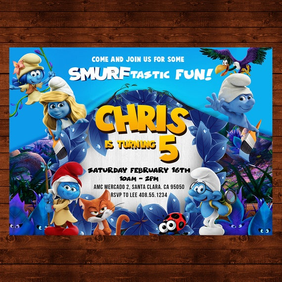 The Smurfs Birthday Invitation Smurfs Party Invite The Smurfs