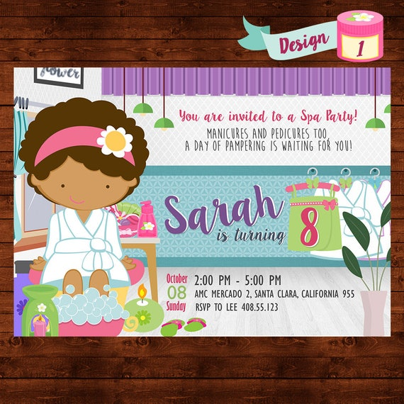 Spa Party Invitation Spa Birthday Party Girls Spa Party Invite