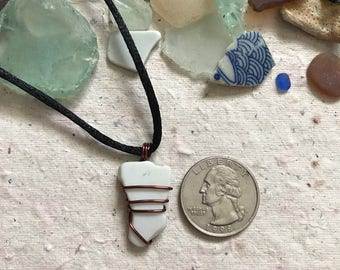 White Sea Glass Wrap Necklace