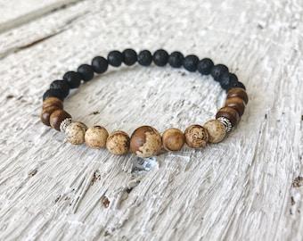 Jasper Stone beaded bracelet, essential oil bracelet, gemstone bracelet, lava bead bracelet, diffuser bracelet,stretch bracelet,boho