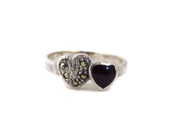 Onyx Heart Ring, Vintage Sterling Silver, Marcasite, Onyx Ring, Sterling Silver Band, Size 7.5
