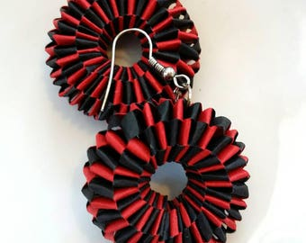 Paper Earrings, Quilled Black and Red Earrings, Dangle Earrings, Circle Earrings,  Paper Quilling Jewelry, First Anniversary Gift