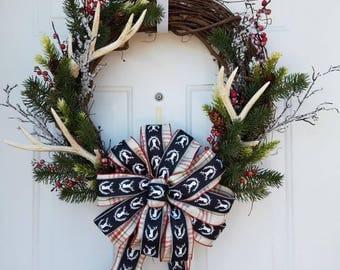 Antler Wreath - Winter Antler Wreath - Winter Wreath - Holiday Wreath - Hunter Wreath - Country Wreath - Christmas Wreath - Deer Wreath