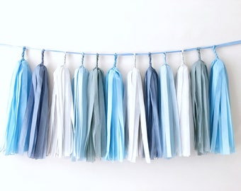 Blue Gray Tassel Garland Baby Boy Shower Birthday Tassel Banner Tissue Paper Garland Baby Blue Shower Decorations Dusty Blue Wedding Garland
