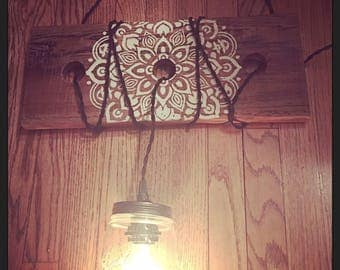 Rustic chandelier made from real barnwood