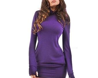 Long Sleeve Solid Mini Dress