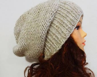 Sacking Winter Hat - Autumn Accessories - Slouchy Beanie Hat Oversized Hat - Chunky Knit - Men Slouchy oatmeal  slouchy knit hat chunky hat